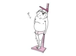 身体測定で背伸びするおっさん(ピンク色バージョン)