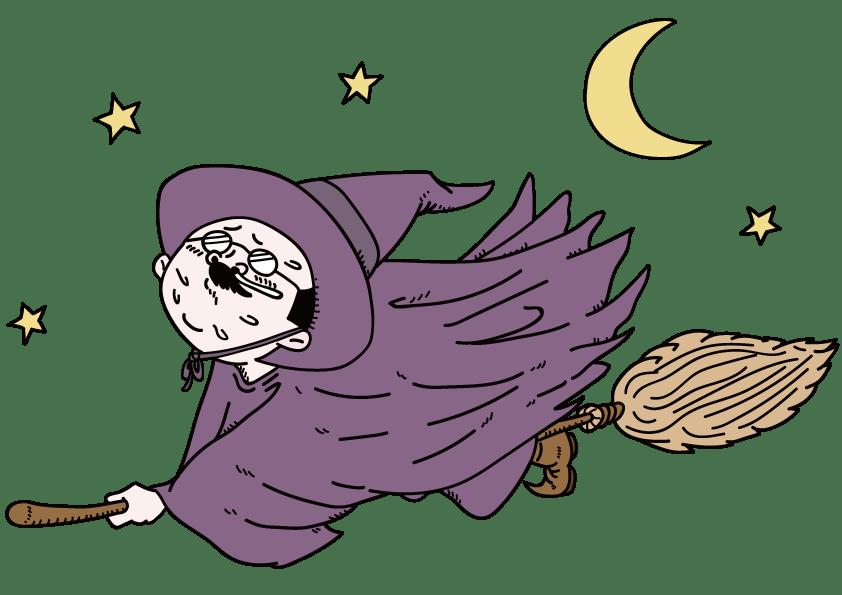 空飛ぶ魔女風おっさん