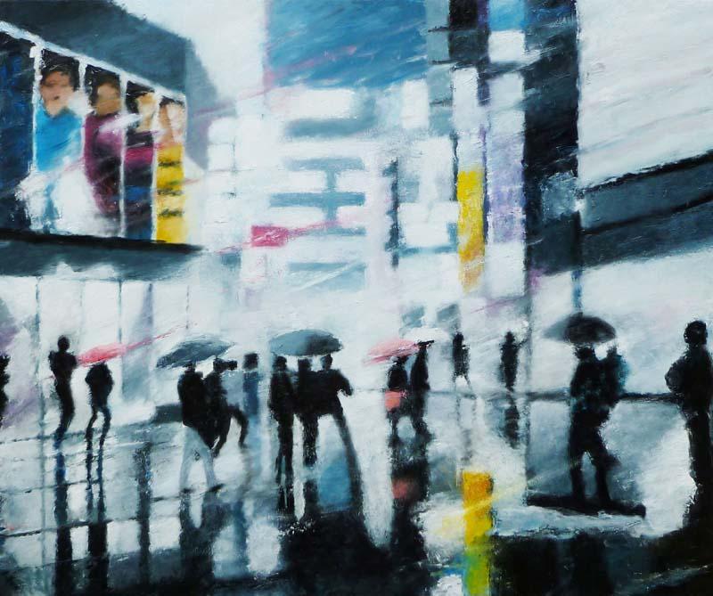 A contre nuit-Huile sur toile - 120 x 100 cm