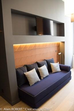 TV HD, canapé, cuir du revêtement mural...dans une chambre