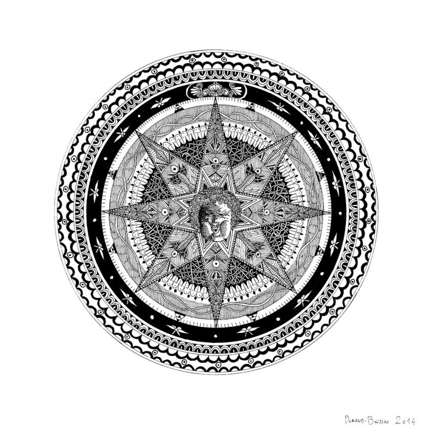 Hadrien Durand-Baïssas – Rose des Vents Dessin à l'encre de chine - 26 X 26 cm