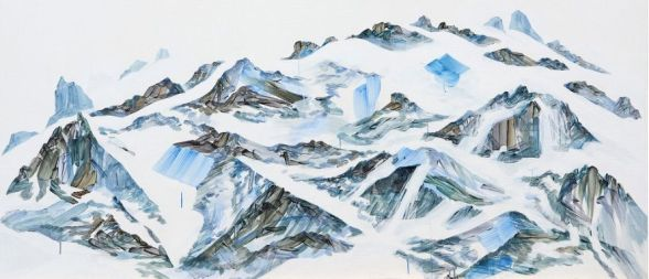Montagnes, acrylique sur toile, 102x227 cm, © Jihee Han