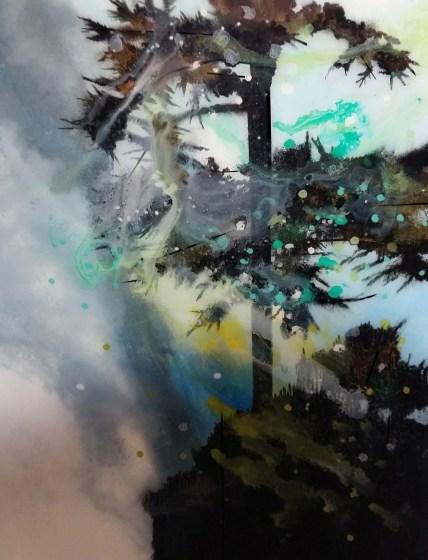 Muriel Rodolosse-Déferlante,100x80cm,peinture inversée sous Plexiglas 2016