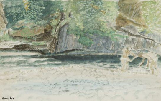 Baignade à la rivière – gouache – 31x48 cm