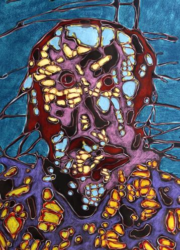 détail Gueule cassée 1 2015 acrylique et cire sur papier 130x89 cm