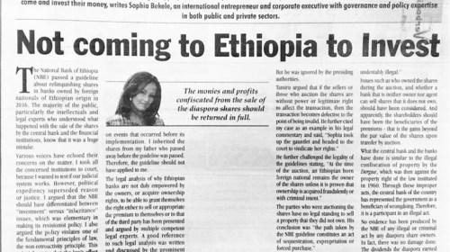 Commentary Not coming to Ethiopia to Invest July 20 2019 by Sophia Bekele