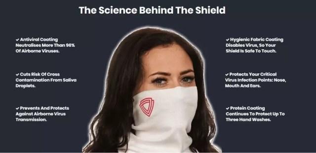 The Virustatic Shield has an antiviral coating.