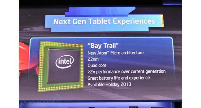 Intel анонсировала 4-ядерный процессор Atom Bay Trail для планшетов