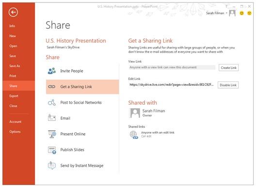 Microsoft улучшила функцию совместного доступа к документам в SkyDrive
