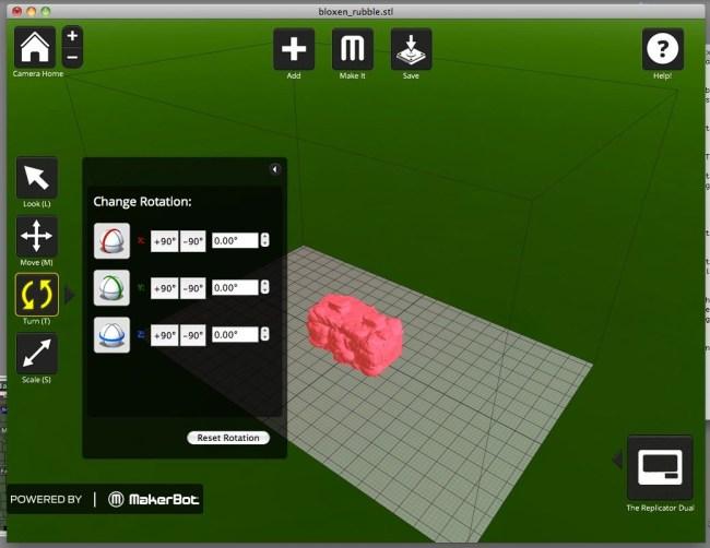 Начерченная в программе MakerWare объемная модель детали впоследствии может быть распечатана на 3D-принтере MakerBot Replicator 2