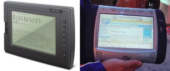 Планшетный компьютер DEC Lectrice (слева) позволял просматривать электронные документы, а Intel WebPAD (справа) – выходить в интернет