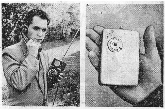 Л. И. Куприянович и его радиофон: слева трехкилограммовый образец 1957 г., а справа – усовершенствованная модель 1961 г. весом всего 500 г.