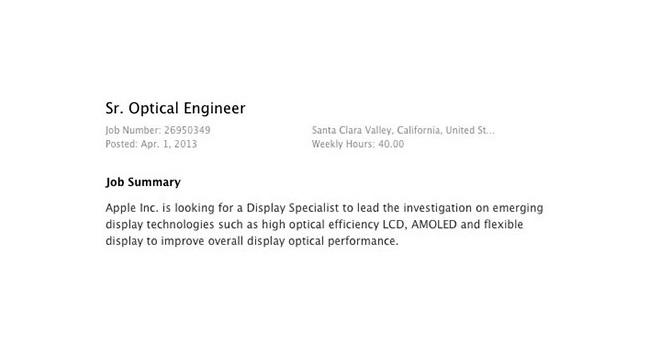 Apple ищет специалиста по гибким дисплеям