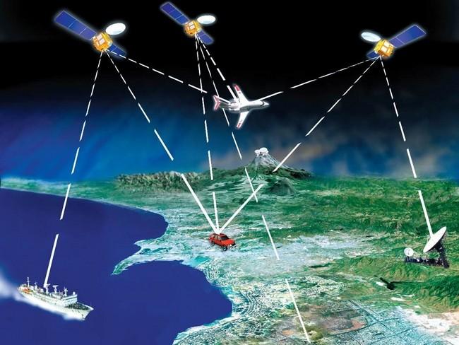 Для точного позиционирования нужно минимум три спутника и земной шар (либо четвертый спутник)