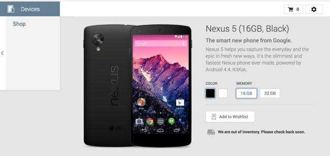 Смартфон Nexus 5 с 16 ГБ памяти был распродан сразу же после старта продаж
