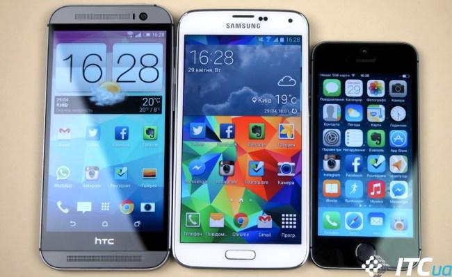 Samsung Galaxy S5 vs Apple iPhone 5S vs HTC One M8