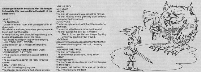 Встреча игрока с троллем – примерный ход событий из журнальной статьи про Zork