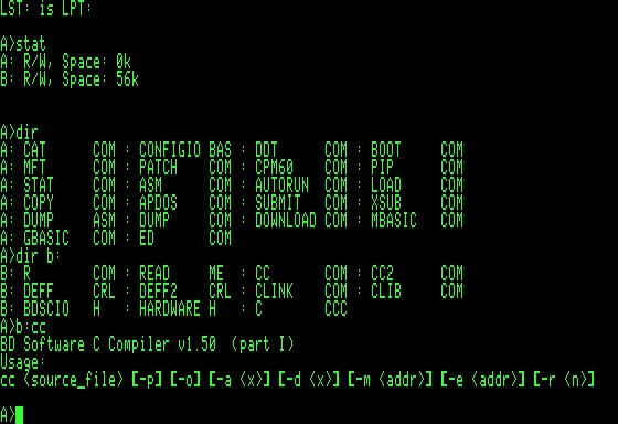 CP/M на экране одного из первых ПК
