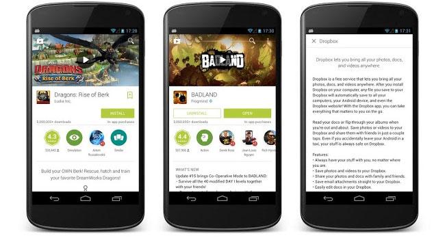 Google обновила дизайн в магазине Google Play
