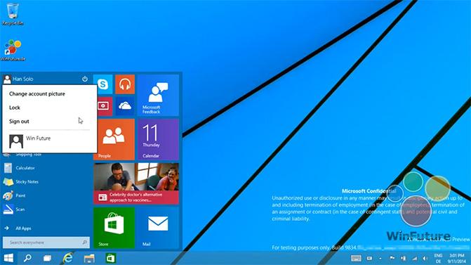 Появилось видео, демонстрирующее возможности меню Start в Windows 9