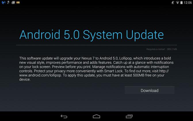 Google начала рассылать обновление Android 5.0 для устройств серии Nexus