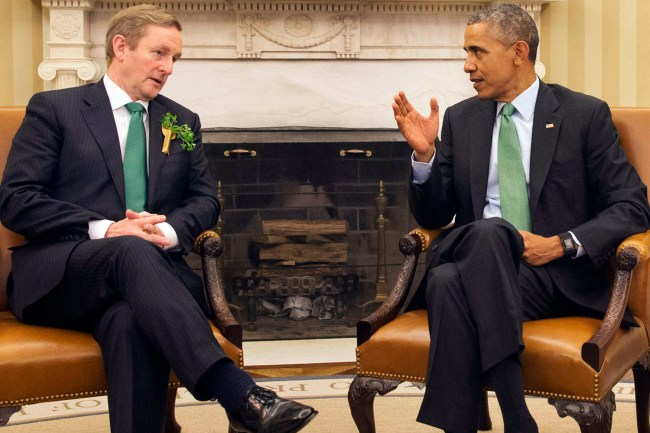 President Barack Obama meets with Irish Prime Minister Enda Kenny, on St. Patrick's Day, Tuesday, March 17, 2015, in the Oval Office of the White House in Washington. (AP Photo/Jacquelyn Martin)
