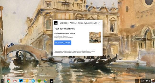 Приложение Google Wallpaper Art для Chrome OS демонстрирует изображения предметов искусства на рабочем столе