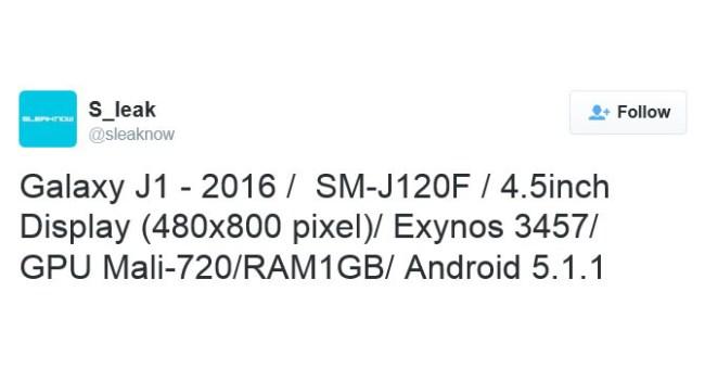 Стали известны характеристики смартфона Samsung Galaxy J1 (2016)