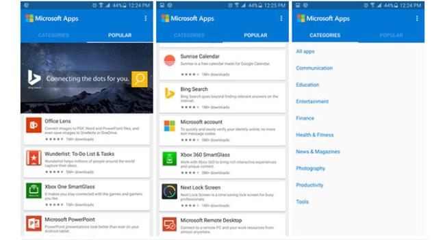 Microsoft Apps - приложение для поиска приложений Microsoft для Android