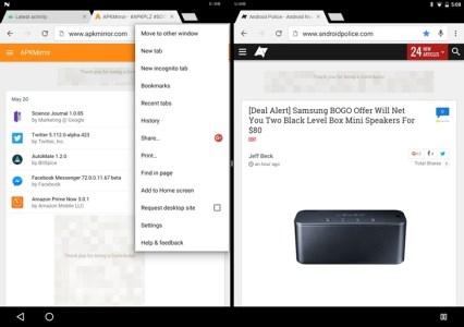 Android N Developer Preview теперь позволяет выводить на дисплей одновременно два окна браузера Chrome