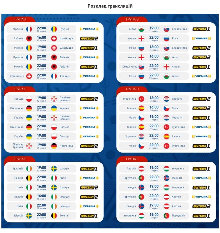 расписание трансляции матчей