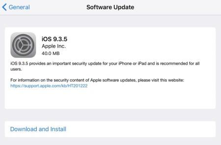 Вышло экстренное обновление iOS 9.3.5, устраняющее ряд критических уязвимостей в системе безопасности мобильной ОС Apple