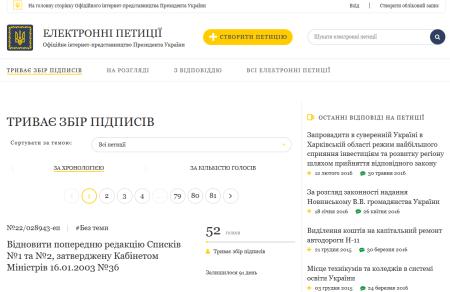 На сайте президента Украины запустили обновленную версию раздела электронных петиций