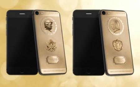 Caviar выпустила золотые iPhone 7 с портретами Путина и Трампа
