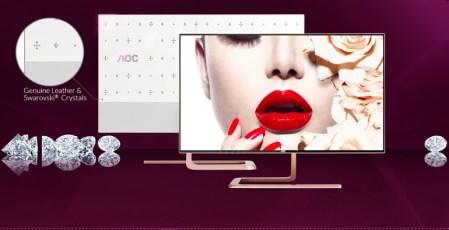 По-богатому: монитор AOC Q2781PS в цвете Rose Gold с кристаллами Сваровски