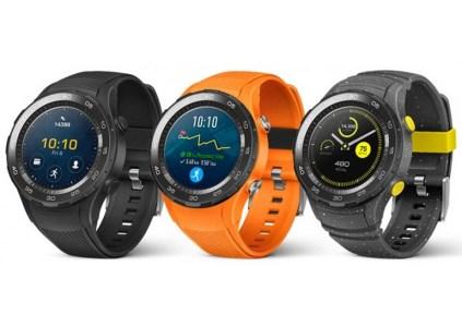 Официальные изображения умных часов Huawei Watch 2 демонстрируют спортивную модель со слотом для карты Nano-SIM в трех цветовых вариантах