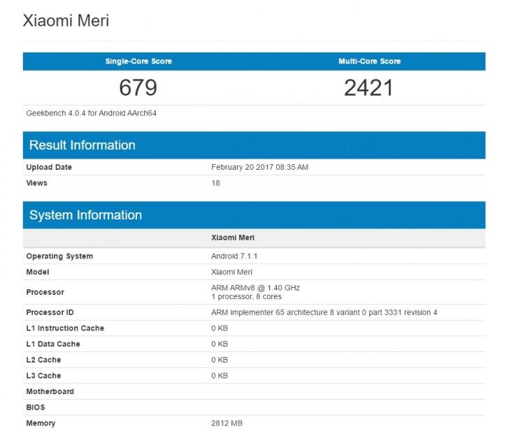 Результаты теста Xiaomi Mi 5c в GeekBench позволяют оценить производительность SoC Pinecone