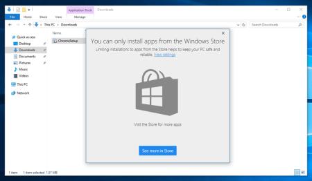 Windows 10 позволит блокировать установку приложений не из Windows Store
