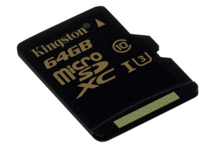 Компания Kingston представила новую высокоскоростную карту памяти microSD UHS-I (U3) Gold-серии для записи видео в формате 4К