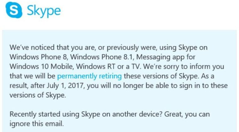 С 1 июля Microsoft полностью прекратит поддержку ПО Skype для Windows Phone 8/8.1, а также Messaging для Windows 10 Mobile и Windows RT