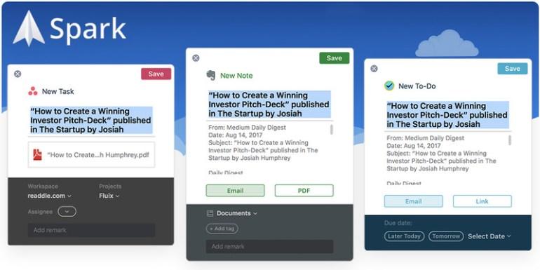 Почтовое приложение Spark от украинских разработчиков получило интеграцию с Todoist, Wunderlist, Trello и Apple Reminders