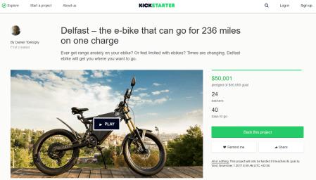 «24 бэкера и $50 тыс.»: Украинский электробайк DelFast eBike собрал на Kickstarter запланированную сумму менее чем за сутки