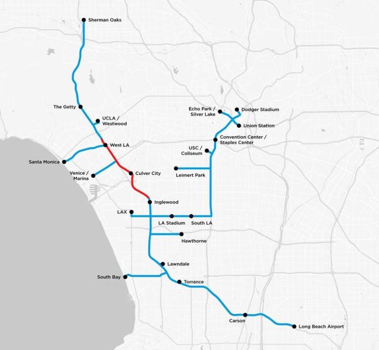 The Boring Company Илона Маска показала прогнозную карту туннелей под Лос-Анджелесом