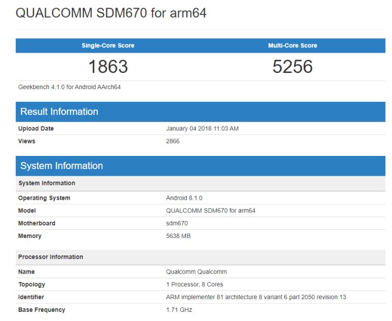 Согласно данным Geekbench, графическая производительность Snapdragon 670 будет на уровне Snapdragon 820