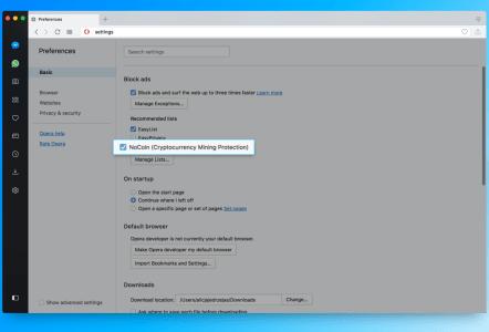 В браузере Opera 50 появился встроенный блокировщик скриптов-майнеров криптовалют