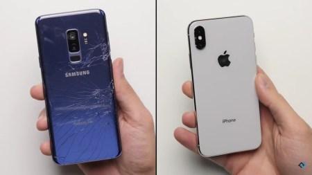 Какой смартфон с большей вероятностью останется целым при падении — Samsung Galaxy S9+ или Apple iPhone X? [видео]