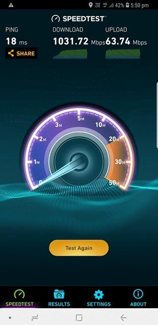 В сети 4G австралийского оператора Telstra смартфон Galaxy S9 продемонстрировал рекордную скорость передачи данных более 1 Гбит/с
