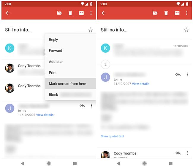 """В мобильной версии Gmail для Android-смартфонов появились функции """"Snooze"""" и """"Mark unread from here"""""""
