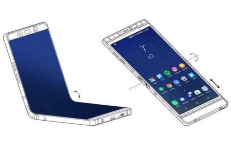 Samsung разработала сгибаемый смартфон в дизайне Galaxy Note 8, но с шарниром посредине и еще одним внешним экраном