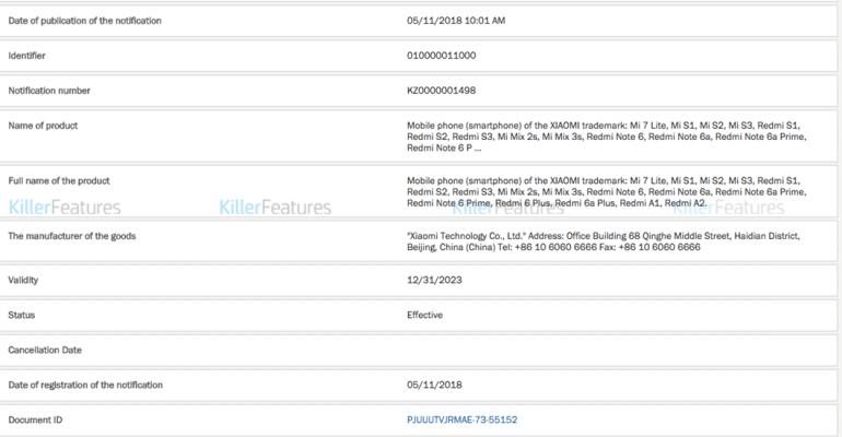 Утечка документа проливает свет на грядущие смартфоны Xiaomi: Mi 7 Lite, Mi S1, Redmi Note 6 и др.